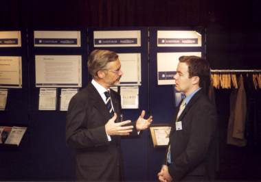 Prof. Dr. H. Biedermann and the Euroforum Manager Robert Watts<BR>  (Photo Behrend)