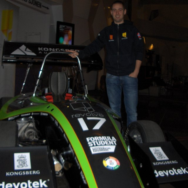 The NTNU racing car with one of the Marketing Managers.